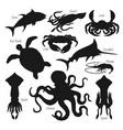 sea fish animal and shellfish black silhouettes vector image