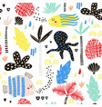 seamless childish pattern with fish octopust palm vector image vector image