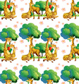 seamless giraffes in forest vector image vector image