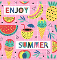 seamless pattern with summer fruit and ice cream vector image vector image