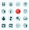 set 16 authority icons includes decision vector image vector image