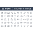 set flat line icons internet things vector image vector image