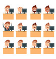 set of business men at work icons vector image vector image