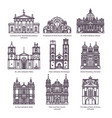 set of isolated churches of europe in thin line vector image vector image