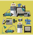 set of retro home appliances icons vector image