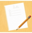 Sheet square and a pencil vector image vector image