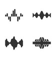 sound waves glyph icons set silhouette symbols vector image vector image
