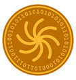 spiral digital coin vector image vector image