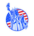 statue of liberty in blue on the background of the vector image vector image
