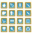 stomatology dental icons set sapphirine square vector image vector image