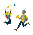 students boy and girl jumping from happiness vector image