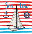 Summer Yacht Anchor Navy objects and Lettering vector image