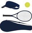 Tennis equipment blue set vector image vector image