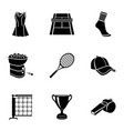 tennis fashion icons set simple style vector image vector image