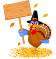 Thanksgiving turkey holding sign vector image vector image