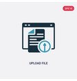 two color upload file icon from web hosting vector image vector image