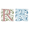 Vintage initials letter R vector image