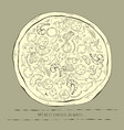 vintage outline pizza on a gray vector image vector image