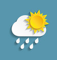 white paper rainy cloud and sun vector image vector image