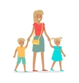 Woman and Two Children Isolated on White vector image vector image