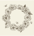 wreath flower poppy place for text poppy vector image