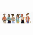 young people students in various poses cute flat vector image
