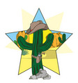 cowboy cactus with hat and revolver cartoon vector image