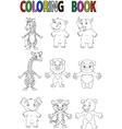 Wild animal coloring book vector image