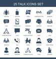 25 talk icons vector image vector image