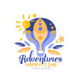 adventures happy time logo design summer vector image vector image
