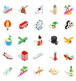 awaited tour icons set isometric style vector image vector image