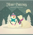 beautiful retro christmas card with polar bear vector image vector image