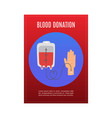 blood donation with donors hand and blood tube vector image vector image
