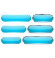 blue glass 3d buttons oval icons set vector image vector image