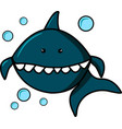 blue shark and bubbles on white background vector image