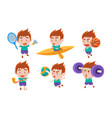boy playing different sports set boy boxing vector image vector image