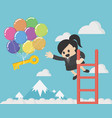 business woman grab key to success business vector image