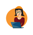cartoon of young hipster woman with laptop vector image