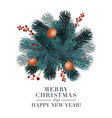 christmas 2019 greeting card with fir ball and red vector image vector image