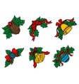 Christmas decors on leaves with red ribbons vector image vector image