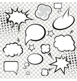 Comic speech bubbles and comic strip on monochrome vector image