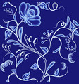continuous pattern of interwoven flowers dark vector image vector image