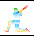 creative abstract cricket player design by halfton vector image vector image