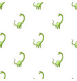 cute monster kids logo monster a green dinosaur vector image
