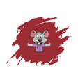cute mouse in abstract red background vector image