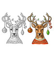 deer with christmas garland dressed in sweater vector image vector image