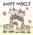 Family of Three Giraffes vector image
