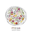 fast food pizza isolated on a white vector image vector image