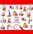 find one of a kind game with santa claus vector image vector image