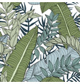 floral jungle seamless leaves pattern vector image vector image
